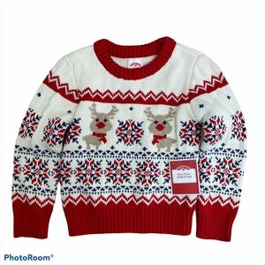 Holiday Time Knit Christmas Sweater NWT 2T White